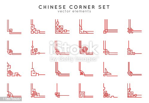 istock Asian corner set in vintage style on white background. Traditional chinese ornaments for your design. Vector red japanese elements. 1189755037