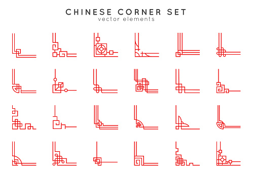 Asian corner set in vintage style on white background. Traditional chinese ornaments for your design. Vector red japanese elements.