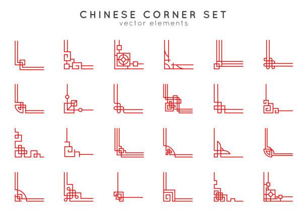 stockillustraties, clipart, cartoons en iconen met aziatische hoek set in vintage stijl op witte achtergrond. traditionele chinese ornamenten voor uw ontwerp. vector rode japanse elementen. - chinese cultuur