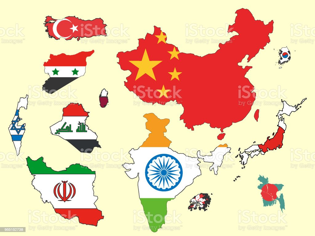asian countries maps and flags set stock vector art more images of