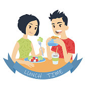 Asian couple eating. Vector illustration of multicultural pair in flat cartoon style on white background. Boy biting burger and girl eating fresh salad. Romantic lunch.