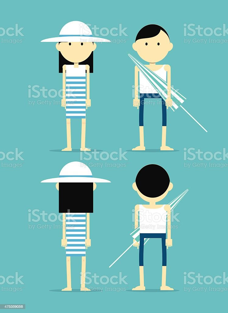 Asian couple with parasol in summer clothes vector art illustration
