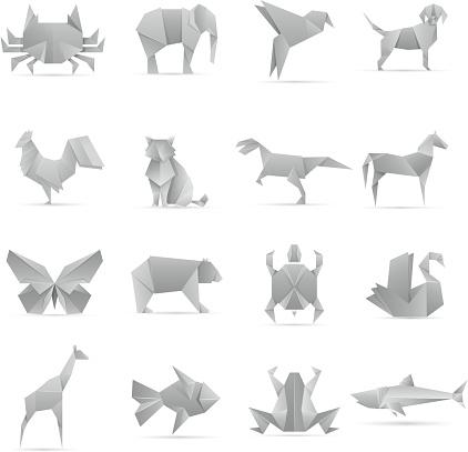 Asian creative origami animals vector collection