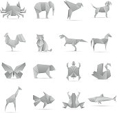 Asian creative origami animals vector collection. Animal geometric toy papers illustration