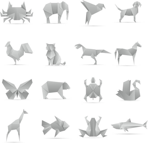 asiatische kreative origami tiere vektor-sammlung - elefantenkunst stock-grafiken, -clipart, -cartoons und -symbole