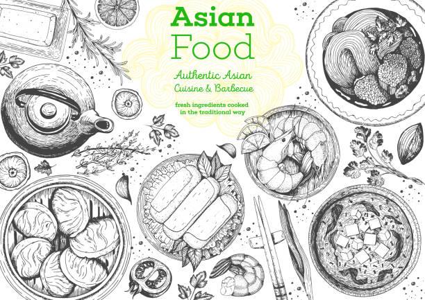 asian cuisine top view frame. food menu design with noodles, soup miso, dumplings shrimps and rolls. vintage hand drawn sketch vector illustration. - thai food stock illustrations, clip art, cartoons, & icons