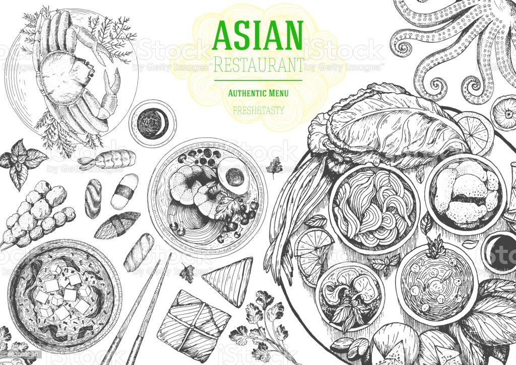Asiatische Kücheansicht Von Obenframe Essenmenüdesign Mit Nudeln ...