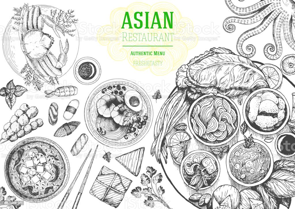 Quadro de vista superior de cozinha asiática. Projeto de menu de comida com macarrão, miso sopa, sushi e conjunto de pratos tradicionais. Ilustração em vetor desenho vintage mão desenhada. - ilustração de arte em vetor