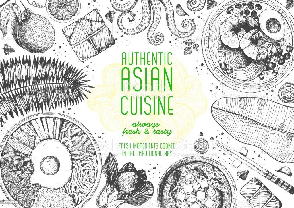 Asiatische Kücheansicht Von Obenframe Menüdesign Mit Miso Suppe ...