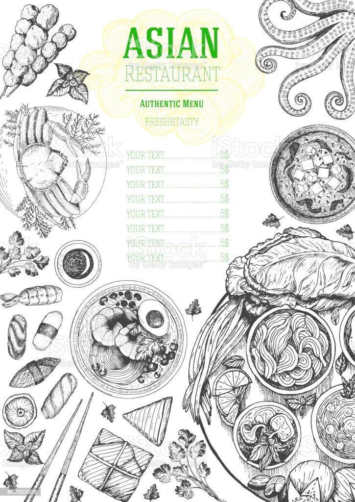 Marco de la vista superior de cocina asiática. Diseño de menú de comida con fideos, Sopa miso, sushi y set de platos tradicionales. Ilustración de vector de boceto dibujado a mano vintage. - ilustración de arte vectorial