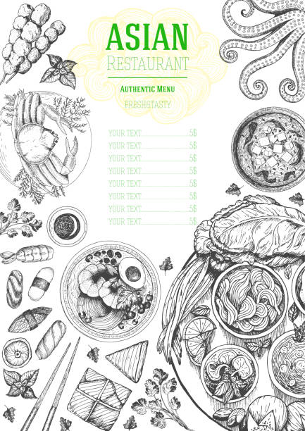 asian cuisine top view frame. food menu design with noodles, soup miso, sushi and set of traditional dishes. vintage hand drawn sketch vector illustration. - thai food stock illustrations, clip art, cartoons, & icons