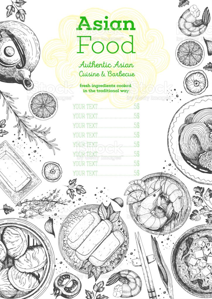 Quadro de vista superior de cozinha asiática. Projeto de menu de comida com macarrão, miso sopa, bolinhos de camarão e rolos. Ilustração em vetor desenho vintage mão desenhada. - ilustração de arte em vetor