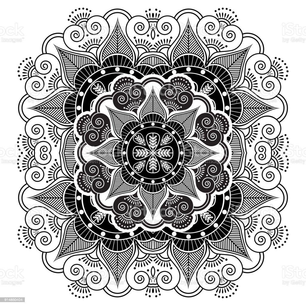 Ilustración De Cultura Asiática Inspirada Tatuaje Mandala Monocromo