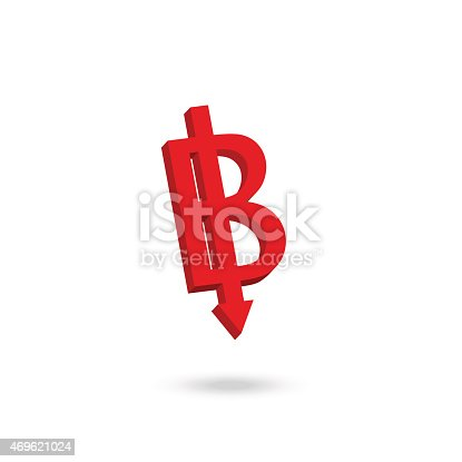 Asian Currency Symbol Weakened Concept Design Thai Baht Stock Vector