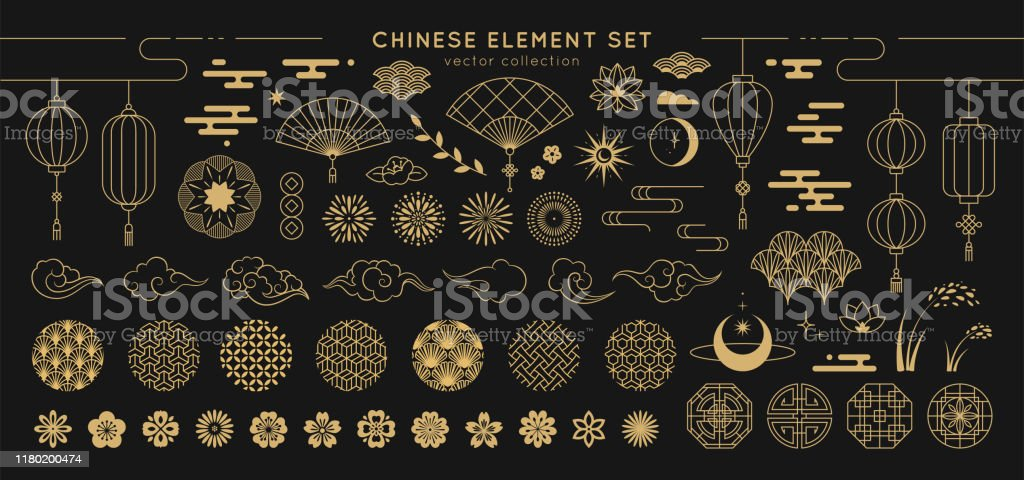 Asian design element set. Vector decorative collection of patterns, lanterns, flowers , clouds, ornaments in chinese and japanese style. Asian design element set. Vector decorative collection of patterns, lanterns, flowers , clouds, ornaments in chinese and japanese style. Abstract stock vector