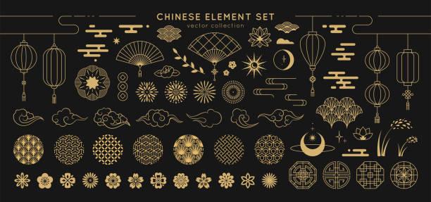 亞洲設計項目集。向量裝飾收集圖案、燈籠、花、雲、中、日風格的裝飾品。 - 亞洲 幅插畫檔、美工圖案、卡通及圖標