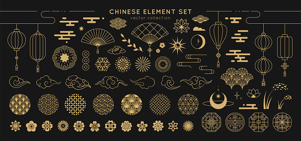 Asian Design Element Set Vector Decorative Collection Of Patterns Lanterns Flowers Clouds Ornaments In Chinese And Japanese Style Stock Illustration - Download Image Now