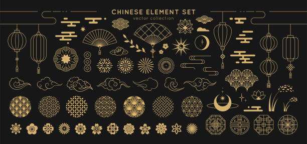 asian design element set. vector decorative collection of patterns, lanterns, flowers , clouds, ornaments in chinese and japanese style. - backgrounds symbols stock illustrations