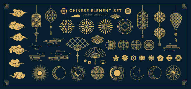 stockillustraties, clipart, cartoons en iconen met aziatische design element set. vector decoratieve collectie van patronen, lantaarns, bloemen, wolken, ornamenten in chinese en japanse stijl. - chinese cultuur