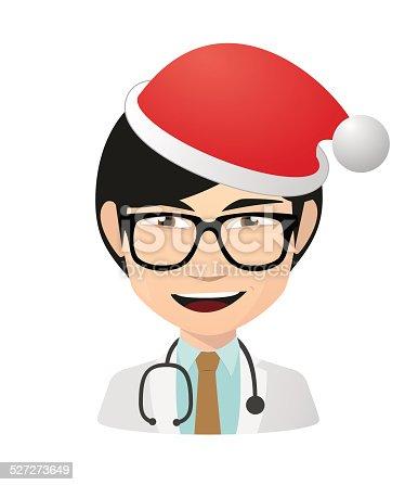 istock Asian doctor avatar wearing a santa hat 527273649