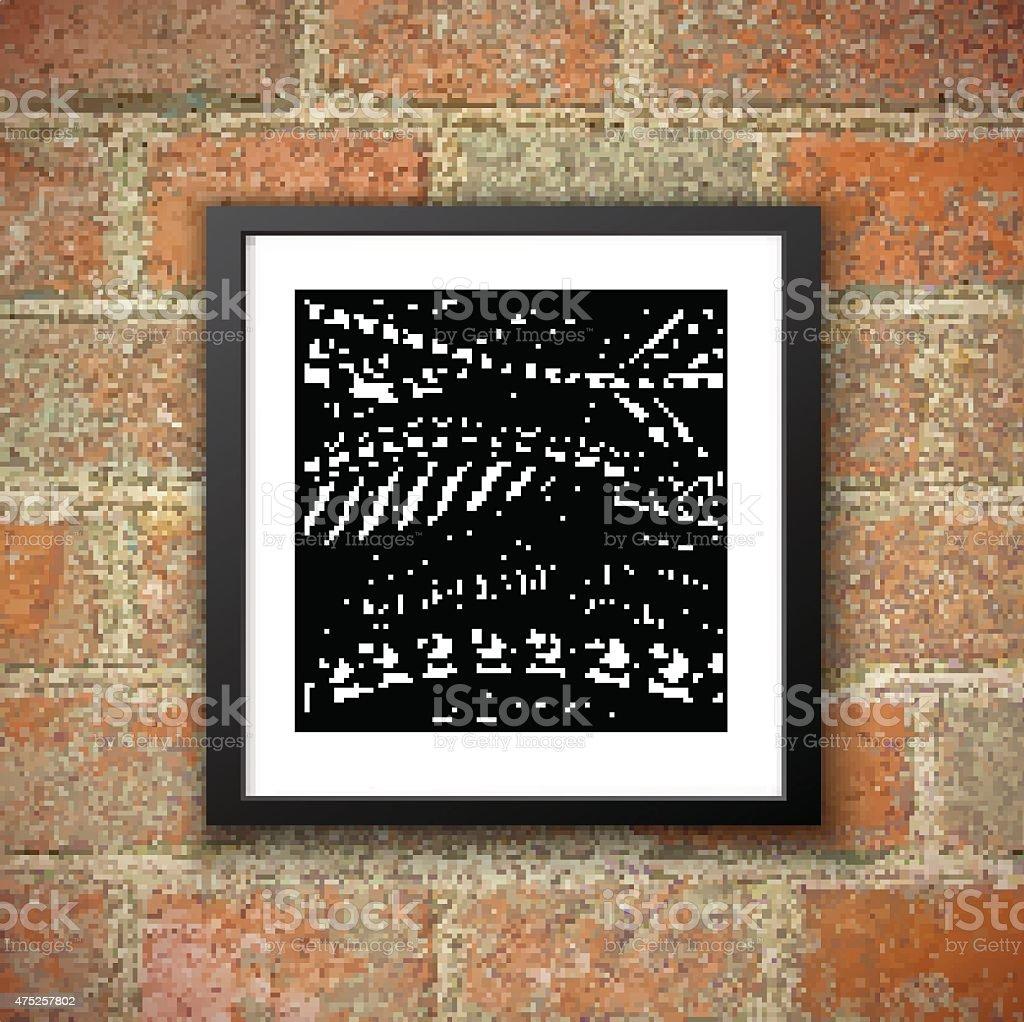 Sarrabisco Oriental padrão preto e branco na parede de tijolo fundo. - ilustração de arte vetorial