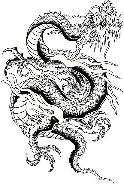 Asian Dragon vector art illustration