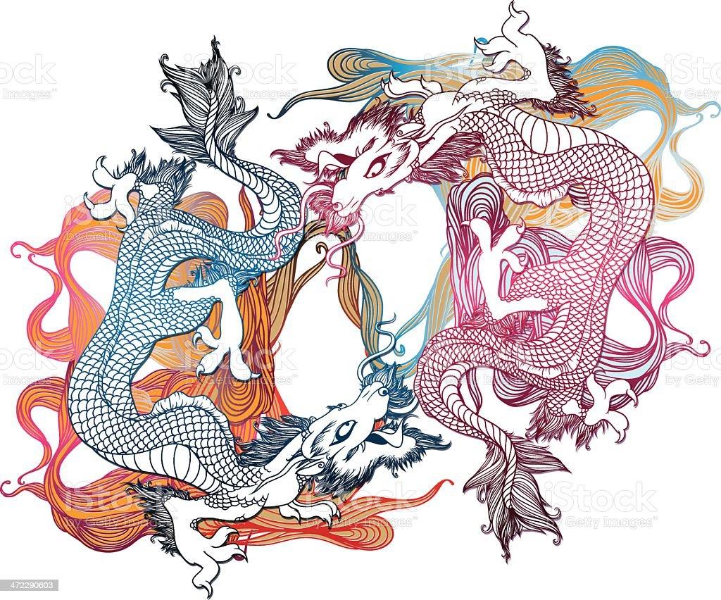 Asiática dragons - ilustración de arte vectorial