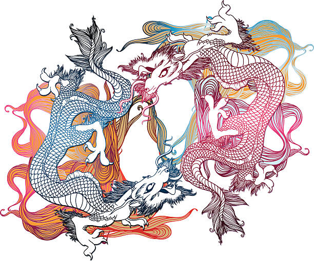 Asiatische Drachen – Vektorgrafik