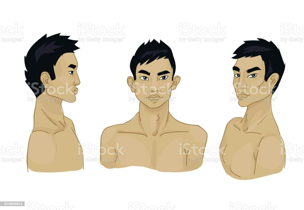 different angles of asian men, can be used as template for headdress...