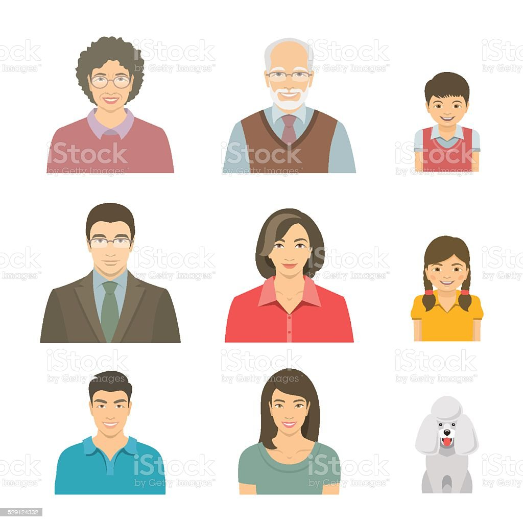 Asian family faces flat vector avatars set vector art illustration