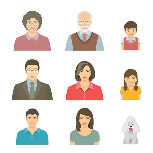 アジアの家族の笑顔フラットベクター avatars セット - 母娘 笑顔 日本人点のイラスト素材/クリップアート素材/マンガ素材/アイコン素材