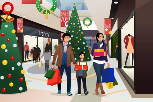 Asian Family Going Shopping During Christmas Illustration vector art illustration