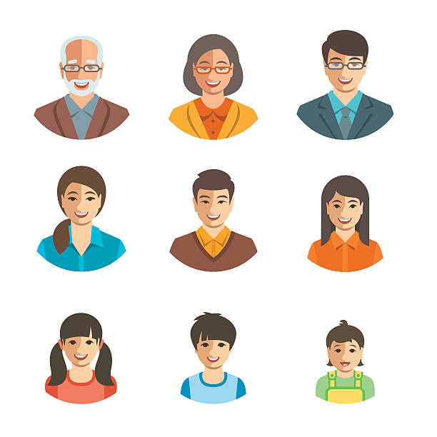 Asian family happy faces flat avatars set vector art illustration