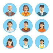 Asian family happy faces. Vector flat avatars. People generation simple icons. Mother, father and adult, teen and little kids. Japanese, Chinese portraits. Young, senior men and women, boys, girls and baby