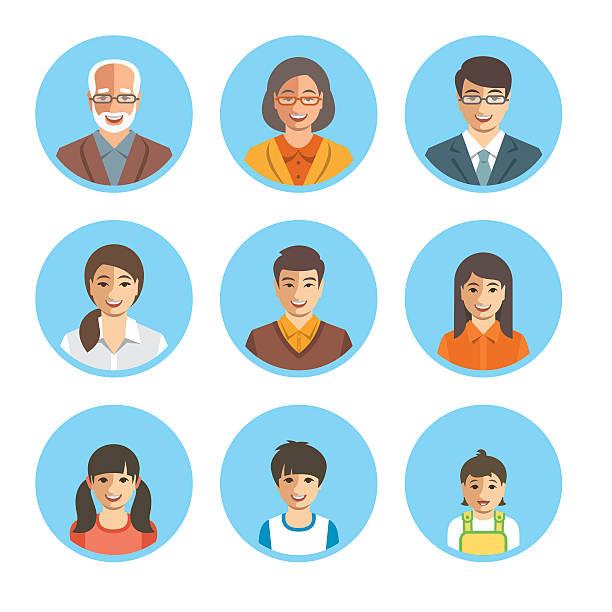 asian family happy faces flat avatars set - 母娘 笑顔 日本人点のイラスト素材/クリップアート素材/マンガ素材/アイコン素材