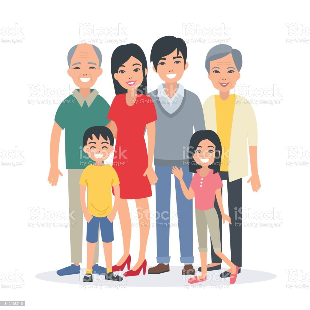 asian family vector art illustration