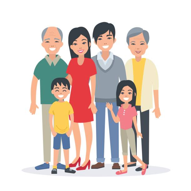 asian family Asian family portrait with children, parents, grandparents. Vector illustration. asian woman stock illustrations