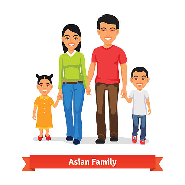 Asian family walking together and holding hands Asian family walking together and holding hands. Flat style vector illustration isolated on white background. indian family stock illustrations