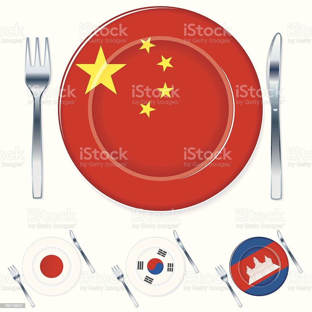 Asian Flag Plates with Knife and Fork royalty-free stock vector art