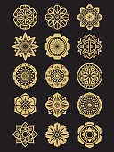 Asian flowers icons set isolated on black background. Chinese or japanese decorative elements. Asian collection ornament indian. Vector illustration