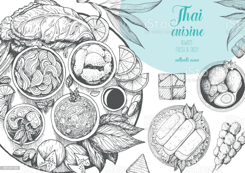 Fundo de comida asiática. Cartaz de comida asiática. Restaurante de menu de comida tailandesa. Menu de esboço de comida tailandesa. Ilustração vetorial - ilustração de arte em vetor