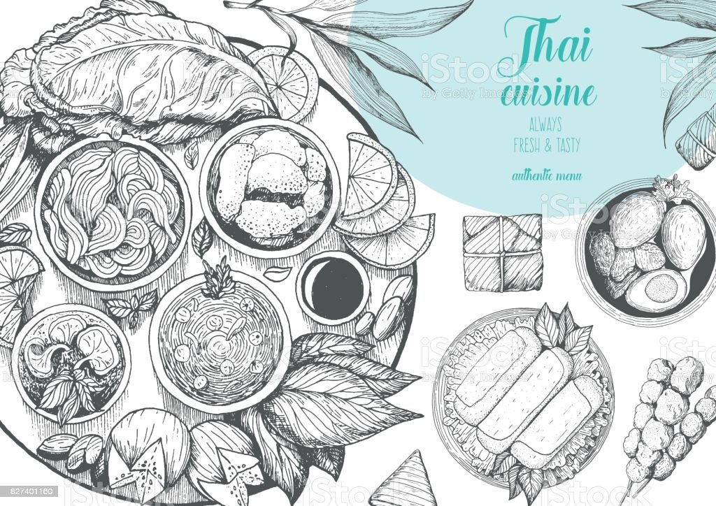Fondo de comida asiática. Cartel de la comida asiática. Restaurante de menú de comida tailandesa. Menú de dibujo de comida tailandesa. Ilustración de vector - ilustración de arte vectorial