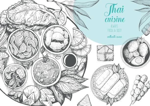 asian food background. asian food poster. thai food menu restaurant. thai food sketch menu. vector illustration - thai food stock illustrations, clip art, cartoons, & icons