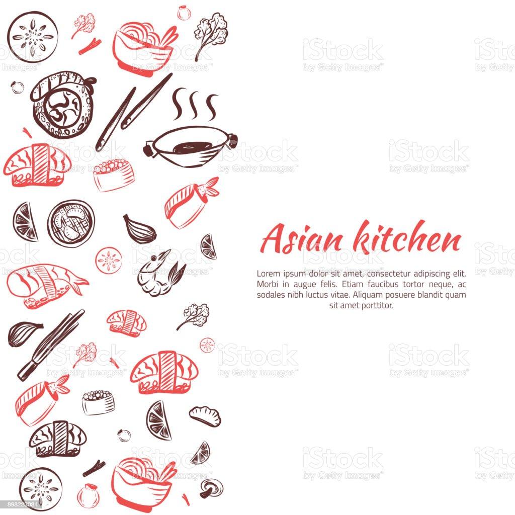 Asiatische Küchehintergrund Doodlejapanische Kücheposterbild Für ...