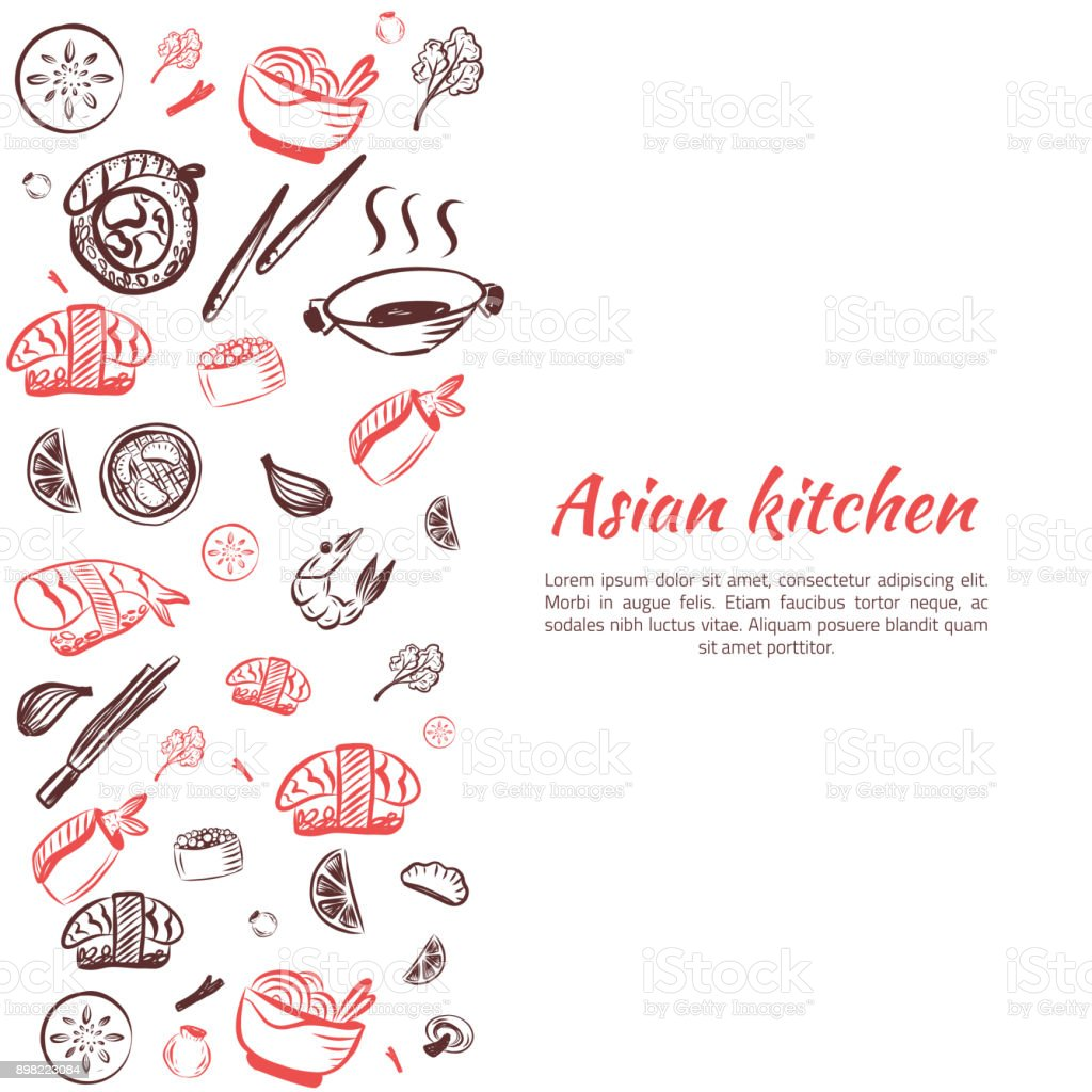 Fondo de comida asiática. Marco de cartel Doodle cocina japonesa para el menú del restaurante. Ilustración de vector - ilustración de arte vectorial