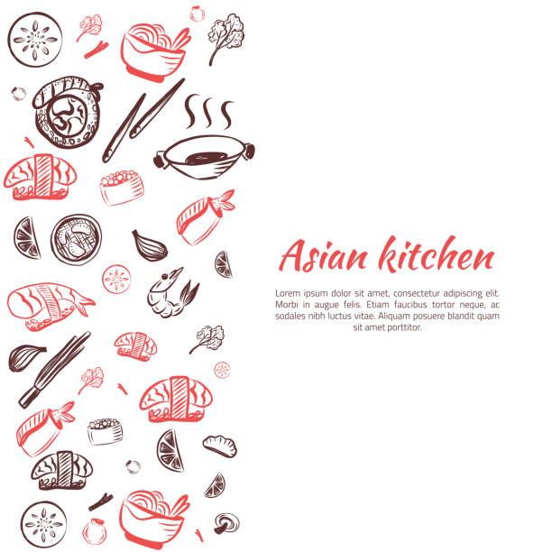 asian food background. doodle japanese cuisine poster frame for restaurant menu. vector illustration - thai food stock illustrations, clip art, cartoons, & icons