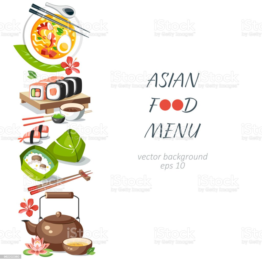 Asian food background vertical menu dishes chinese traditional cuisine japanese thai frame background border vector art illustration