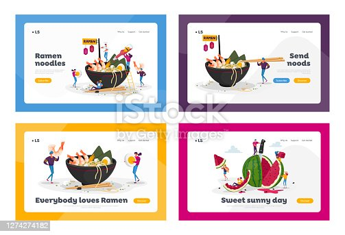 Asian Food Cafe, Watermelon Snack Landing Page Template Set. Tiny Characters Cooking and Eating Ramen or Pasta and Fruit