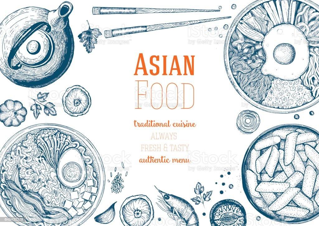 Marco de la comida asiática. - ilustración de arte vectorial