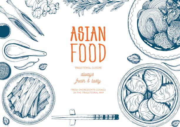 asian food frame. - chinese food stock illustrations, clip art, cartoons, & icons